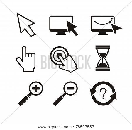Set of mouse cursors hand cursor hourglass