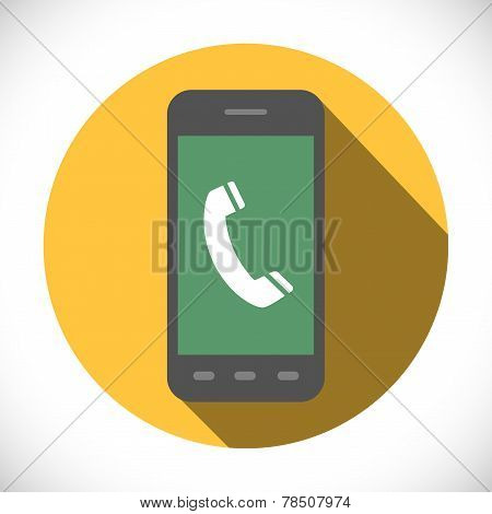Handset Sign In Phone Icon Symbol. Flat Design Collection