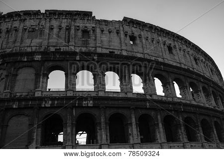 Exterior Images of the Colosseum at night black and white
