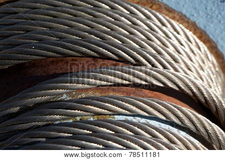 Steel Cable On The Reel In The Sunshine