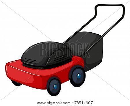 Illustration of a close up lawnmower