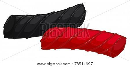 Illustration of two pieces of licorice