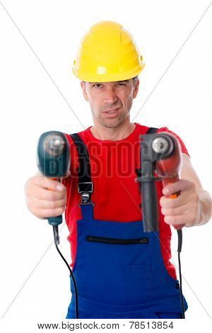 Wild Man With Helmet And Drilling Machine