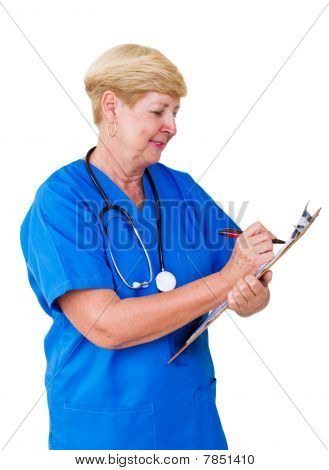 nurse writing on clipboard