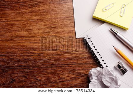 Office Or Educational Supplies On Wooden Table