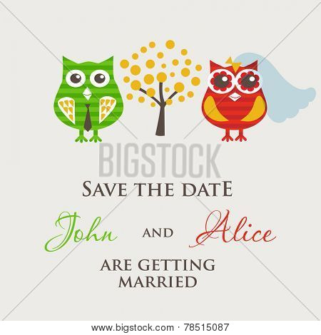 Vintage wedding card. Owls are bride and groom.