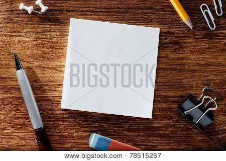 Office Supplies On The Table With Copy Space