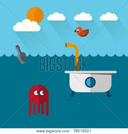 Travelling bath tube submarine with funny octopus and cute bird