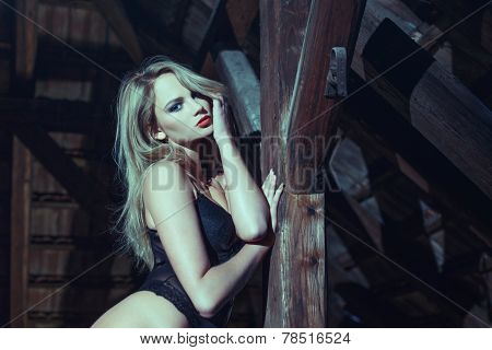 Sensual Blonde Woman Posing In Barn