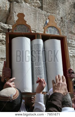 Jews Pointing towards a Torah Scroll as it is Lifted