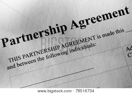 Close Up Partnership Agreement Paper