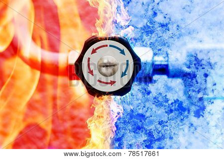 manual heating controller with red and blue arrows in fire and ice background