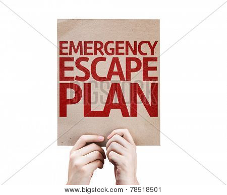 Emergency Escape Plan card isolated on white background