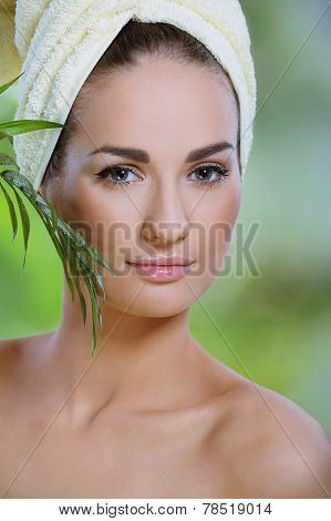 Young Beautiful Woman After Bath Touching Face Green Plants