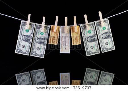 Dirty Us Dollar And China Banknotes