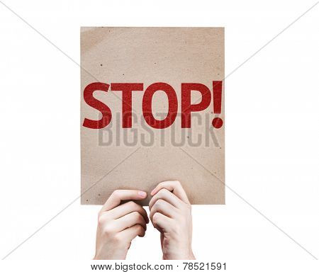 Stop! card isolated on white background