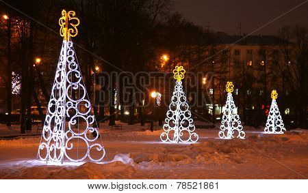 Light Christmas Trees In Nizhny Novgorod Russia