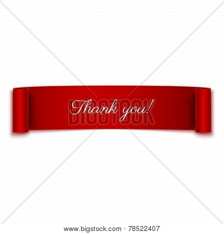 Thank You Message On Red Ribbon Banner Isolated On White