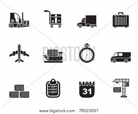 Silhouette logistics, shipping and transportation icons