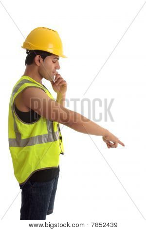 Construction Worker Looking Pointing Down