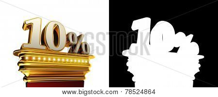 Ten percent figure on a golden platform with brilliant lights over white background with alpha map