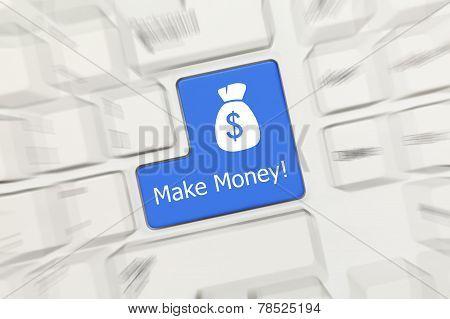White Conceptual Keyboard - Make Money (blue Key). Zoom Effect