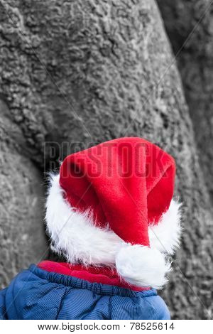 Cute Christmas Elf with red pointed Hat in the Forest