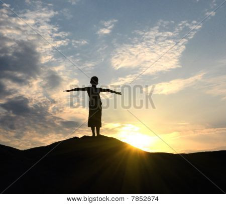 Young Man Go Up In Sand Desert In Sundown