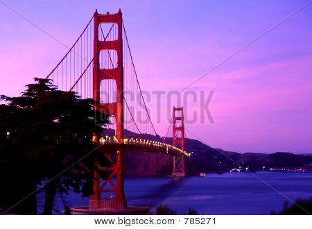 Lighted Golden Gate Bridge