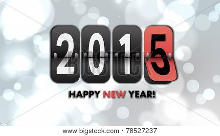 Happy new year 2015 against white glowing dots on grey