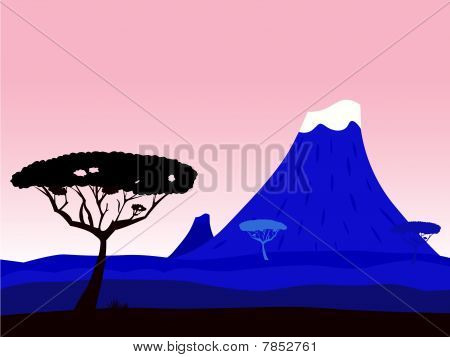 African exotic background with volcano crater and acacia tree silhouette
