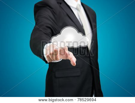 Businessman Hand Pressing Cloud Icon On Concept For Cloud Computing