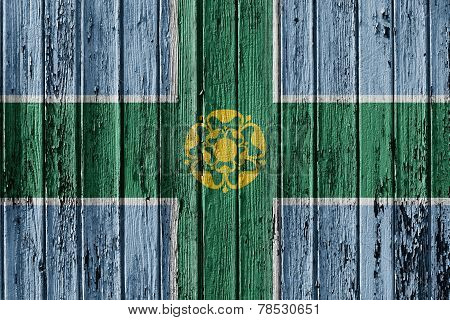 Flag Of Derbyshire Painted On Wooden Frame