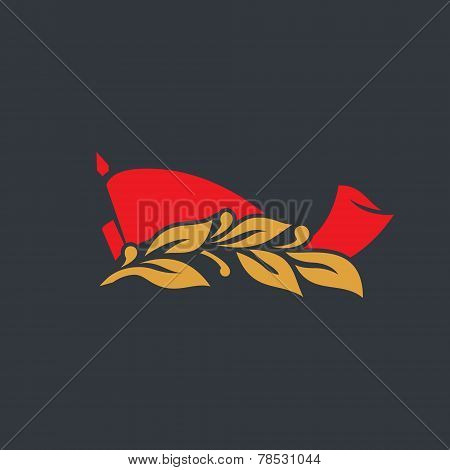 Red Flag With A Laurel Branch Vector Sign