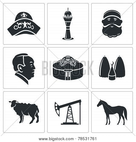Kazakhstan Vector Icons Set