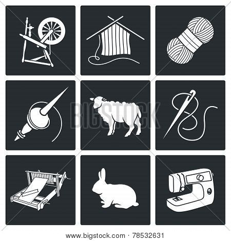 Wool, Knitting Vector Icons Set
