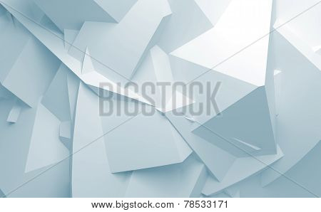 Abstract Blue White 3D Chaotic Polygonal Surface Background