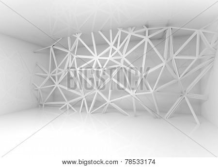 Abstract White Interior With 3D Wire Frame Construction