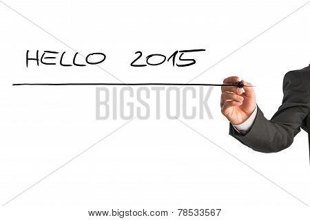 Writing Hello 2015 On Virtual Whiteboard