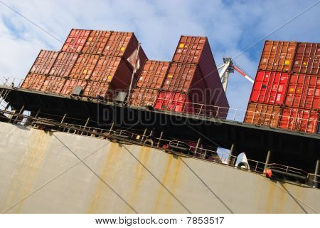Stack Of Cargo Freight Container
