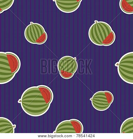 Watermelon Pattern. Seamless Texture With Ripe Watermelons