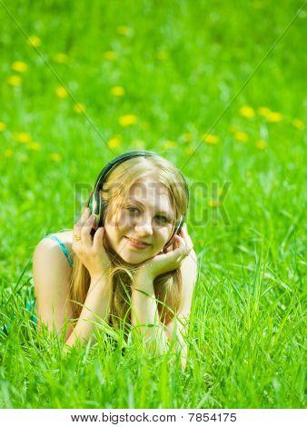Girl Listening Music In Headphones