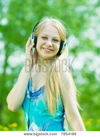 Happy Girl Listening Music