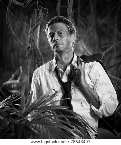 Lost In Jungle Businessman
