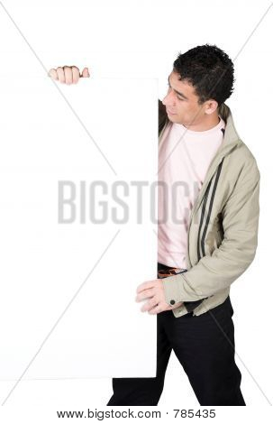 casual guy holding a white board