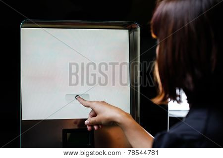 Woman Touching The Screen