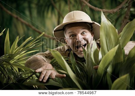 Explorer Discovering Rainforest Jungle