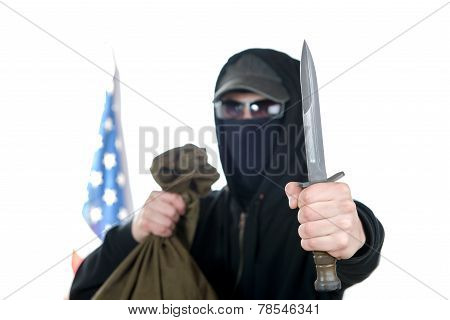 Hooded Robber With A Dagger And A Bag Of Money