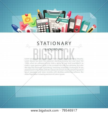 Blue Stationary Background with Copy Space