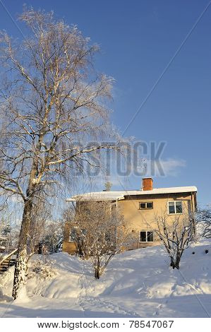 Stockholm, Sweden - January 20, 2013: Swedish middle class home in Täby a suburb to Stockholm.